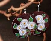 Handpainted EARRINGS in dark wood with silver roses OOAK