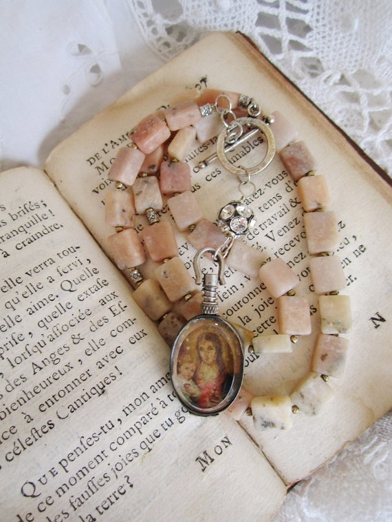 reserved for Sarah please do not purchase assemblage jewelry necklace pendant religious sacred pink stone rosary photo locket