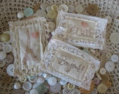 Set of 3 French-Themed Fabric Labels...French Flea Market...Paris Apartment..Shabby Chic..Collage..Scrapbooking...Altered Art