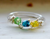 Birthstone ring, mothers ring, family ring, mother daughter ring, mothers ring, crystal wire wrapped