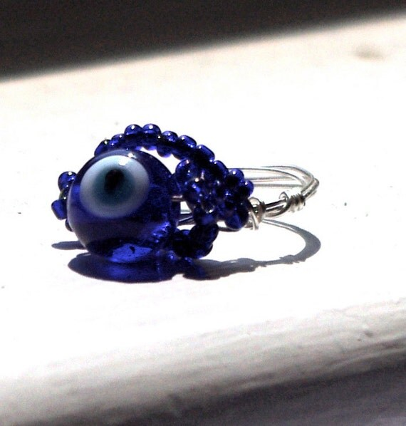 Glass Blue Evil Eye ring - wire wrapped, middle east, Mediterranean, Turkish jewelry
