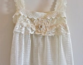 Victorian Antique Style Lacey Tunic Camisole Romantic White Shades OOAK  Altered Couture French Sugar Kitty Couture