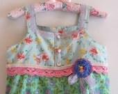 Boho Shabby Chic Girls Dress  Fresh Spring Fairy Minty Greens and Crochet Flowers and POM POM s