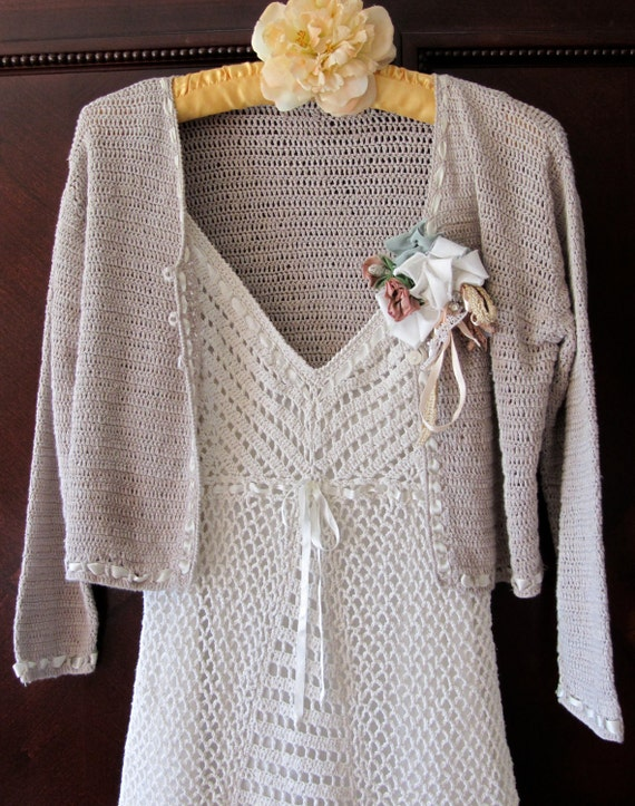 Vintage Lace Dress Crocheted Handmade Shabby Chic Dress and Jacket Vintage Sweet Victorian Romantic Irish Lace Inspired