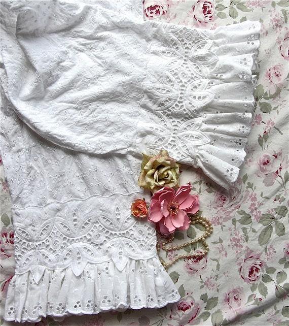 Victorian Eyelet Ruffled  Bloomers Size Medium Large Altered Couture Boho Pantaloon Shabby Chic Cottage French Medium