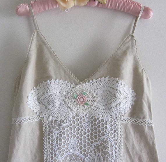 Romantic Mermaid Style Dress Tea Stain Lace Ruffles Crochet Shabby Chic Meets Prairie