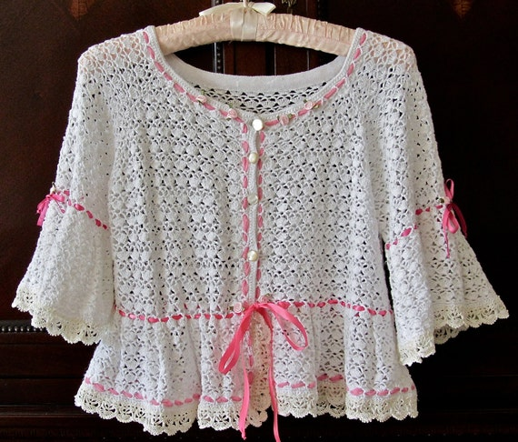 Little Bo Peep Shrug Crocheted Cotton Jacket Sugar White Pink Ribbons Roses Cream Antique Lace