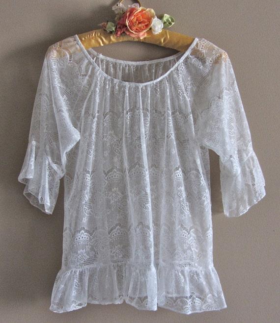 Romantic Lace Ruffled Shirt DelicateSheer Fairytale Sweet