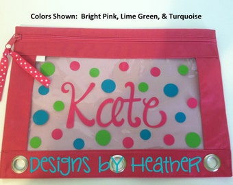Personalized Pencil Pouch (Polka Dots)