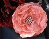 SALE...Elegant Peach Chiffon Bridal Wedding  Bridesmaid Mother of the Bride Flower Fascinator Hair Clip Brooch  with  Rhinestone Accent
