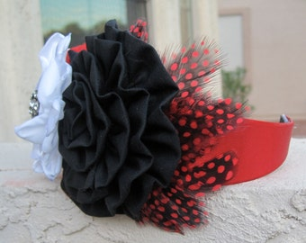 Red Fashion Headband with Three fabric flowers in two different materials with feathers and a beautiful rhinestone accent
