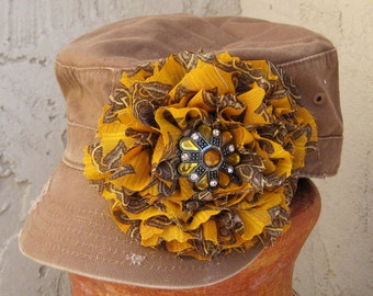 Cadet Military Distressed Army  Hat  Brown with Beautiful Chiffon Flower and Gorgeous Amber Accent