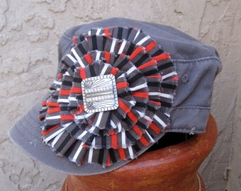 SALE...Cadet Military Distressed Army Hat  Grey with Black, Red, Grey and White Striped Fabric Flower and  Vintage Accent