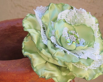 Sale.....LIme Green Satin and Lace Vintage Look Flower  PIN/Brooch  Hair Clip Accessories with Matching Accent