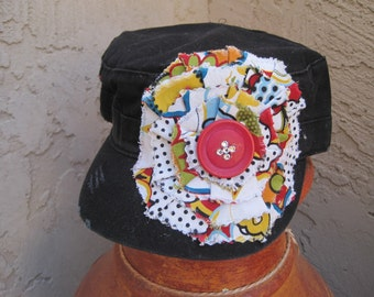 SALE.......Black Cadet Military Distressed Hat with Variegated Print Flower and Button Accent