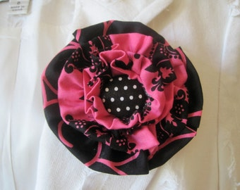 Flower Pin Hair Clip in Black and Shocking Pink using Two Coordinating Cotton Fabrics and Adorable Black and White Polka Dot Button Accent