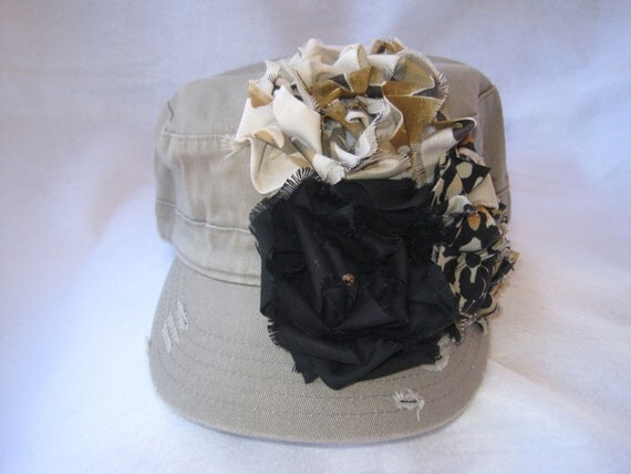 SALE........Distressed  Military Cadet Hat khaki  with three coordinating fabric flowers.