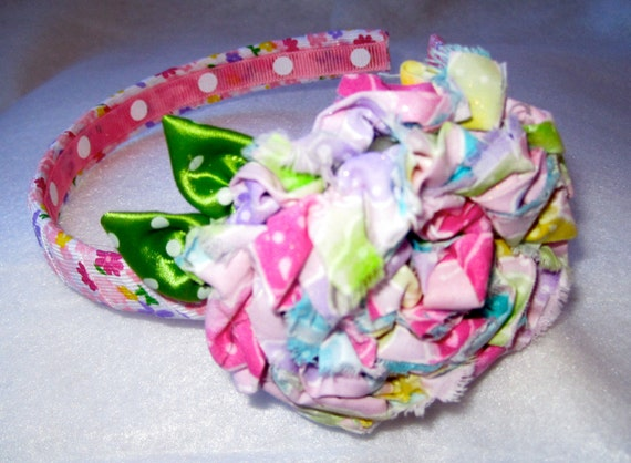Headband Pink with Multi Colored Pastel Fabric Flower  for Baby, Toddler Little Girl or Adults