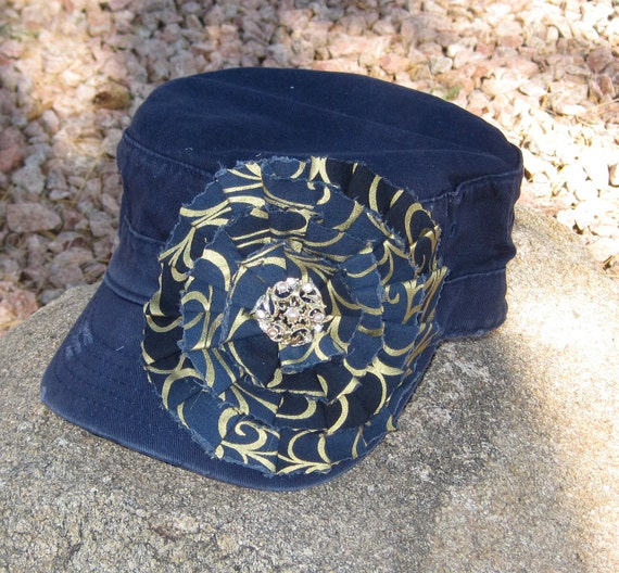 SALE.........Navy Blue Cadet Military Distressed hat   with a Gold and Navy Print Fabric Flower and a Vintage Accent