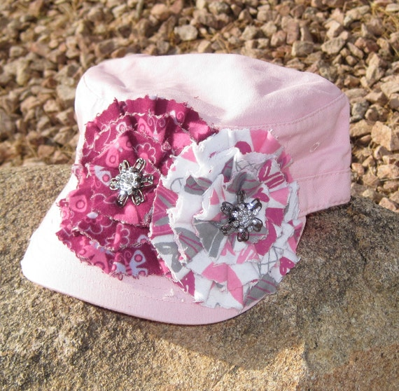 Youth Toddler Cadet  Military Distressed Army Hat ....Pink with Two Coordinating Fabric Flowers and  Beautiful Rhinestone Accents