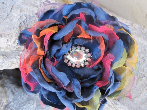 Sale......Royal Blue Satin and Rainbow Organza Fabric Flower Hair clip or Brooch  with a Beautiful Rhinestone Accent