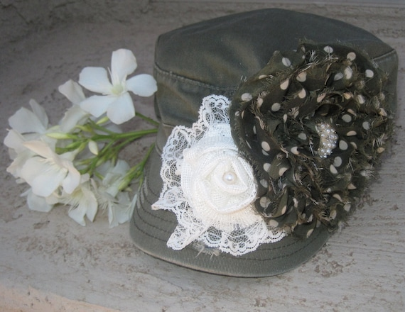 Olive Green Cadet Military Distressed Army Hat  with Two Coordinating Flowers and Gorgeous Pearl and Rhinestone Accent.......FREE SHIPPING