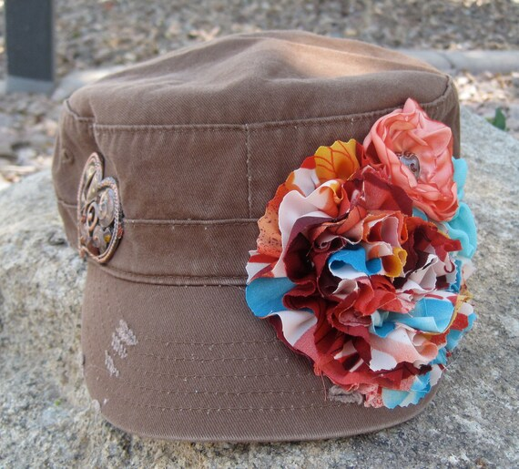 Cadet Military Distressed Army  Hat  Brown with Three Coordinating Fabric Flowers and a Asymetrical Heart on Opposite Side.....FREE SHIPPING