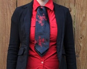 Red Flowers on Black Brocade Ascot/Cravat