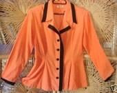 Sexy secretary Soft Cord Fitted Blazer jacket Black Contrast Trim Mad men 40's orange sz medium to xLarge Vintage