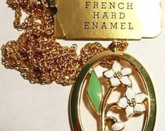 Gold French Enamel Vintage Circa 1940's Flower Necklace.