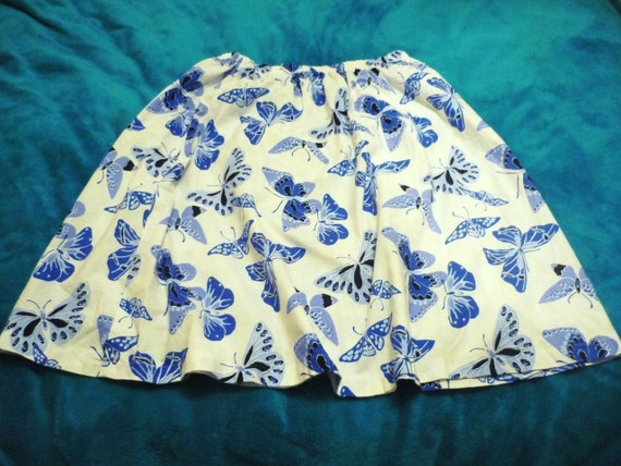 Sunday Picnic Butterfly Cotton skirt w elastic waist. Blue n black medium to xxl plus size