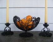 Candlestick Holders and Fruit Basket Vintage Ornate Metal Scroll Design Spain