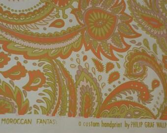 Vintage Retro (MORACCAN FANTASY) Hand Print Wallpaper SINGLE Roll