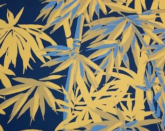 Vintage Retro (TAHITI) Mustard Yellow Bamboo Hand Print Wallpaper SINGLE ROLL