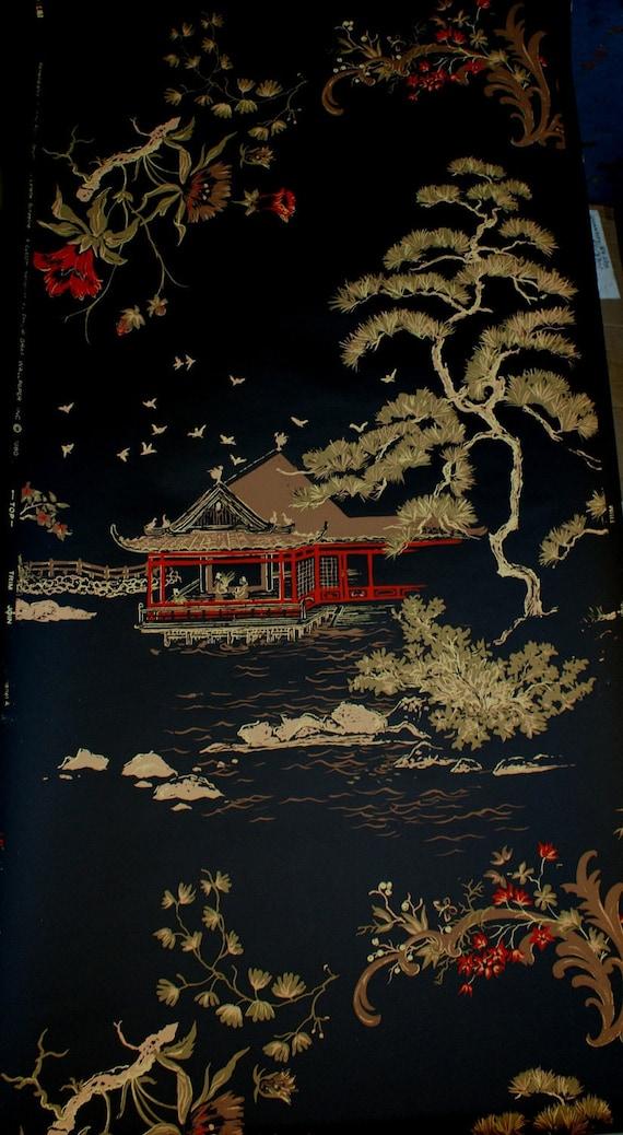 Asian Pagoda CHOCOLATE TAN Retro Wallpaper