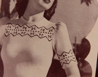 "Cottage country classic 1940s fashion- Fair Isle Knitting design- ePattern - 32""-34""- 36"" bust- Australian Olde Worlde Glamour"