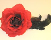 SALE...Large red rose with dark iridescent feathers and red feathers barrette or headband fascinator