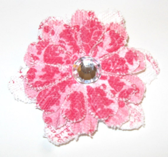 Pink & white flower with Rhinestone Hairclip Headband - You pick color