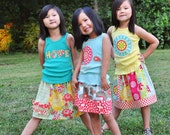 Faith Hope & Love skirt pattern.  Three skirts by Red Thread Stitches for Create H.O.P.E Designs