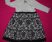Onesie/bodysuit Dress for Baby Girl - Black and White Damask Long Sleeve (can be personalized)