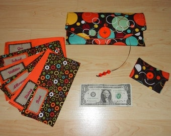 Fabric Cash Envelope cash envelope wallet budget system with EMBROIDERED LABELS - orange
