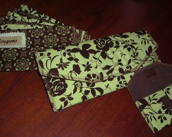 Fabric Cash Envelope system (clutch, coin purse, and 6 envelopes) - Pastel Green & Brown