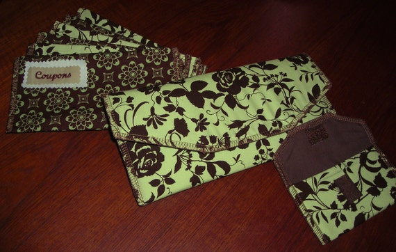 Fabric Cash Envelope system (clutch, coin purse, and 6 envelopes) - Pastel Green & Brown with SERGED edges