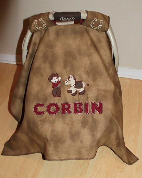 PERSONALIZED Baby Car Seat Cover/Canopy with cowboy and horse (customizable picture) BOOTS fabric underneath
