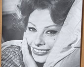Vtg.1960's B&W Trilby Sophia Loren Movie Poster NOS