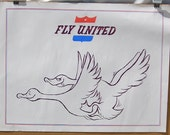 Vintage 1970's Fly United Hippie Poster Airline Geese