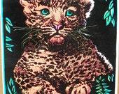 Vtg. SMALL 1970s Leopard Black Light Velvet Hippie Poster