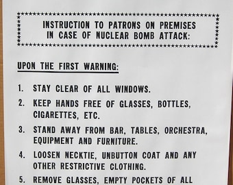 Vtg 1960's Hippie War Nuclear Bomb Notice Poster Kiss