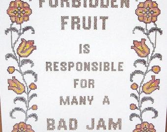 Vtg 1976 'Forbidden Fruit...Bad Jam' Poster Hippie Love