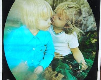 Vintage 1970s First Love Flocked Poster Children Hippie